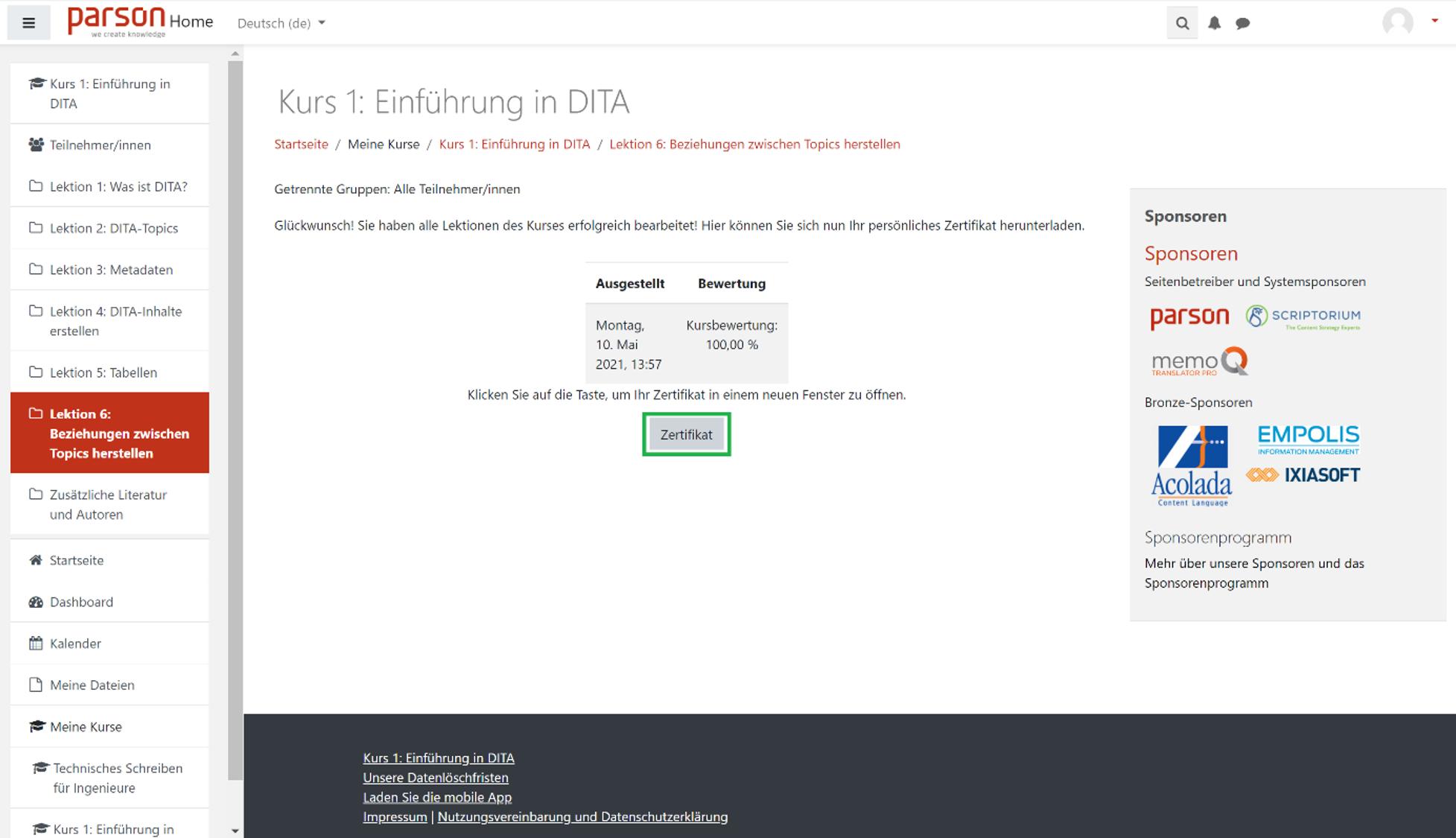 Wie kann ich mir ein Zertifikat ausstellen lassen2 - Zertifikat Zusammenfassung
